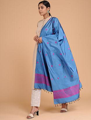 Blue-Pink Silk Baluchari Dupatta