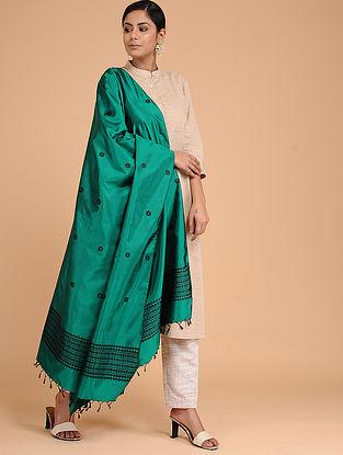 Green-Black Silk Baluchari Dupatta