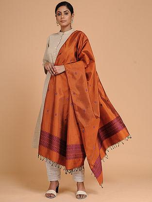 orange-Purple Silk Baluchari Dupatta