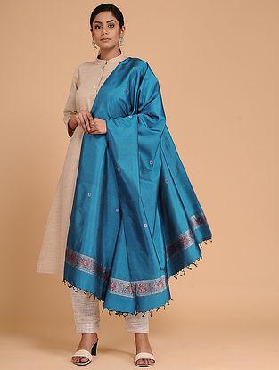 Blue Silk Baluchari Dupatta