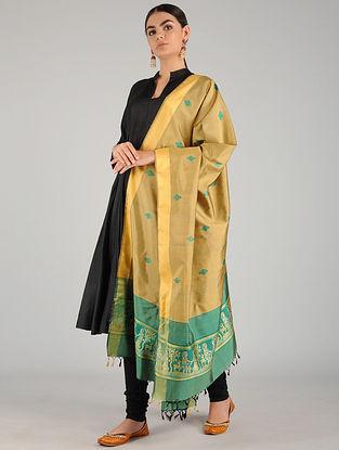 Beige-Green Baluchari Pure Silk Dupatta