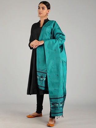 Teal Baluchari Pure Silk Dupatta