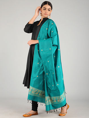 Blue Baluchari Pure Silk Dupatta