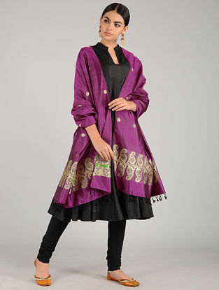 Purple Baluchari Pure Silk Dupatta