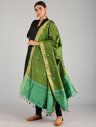 Green Baluchari Pure Silk Dupatta