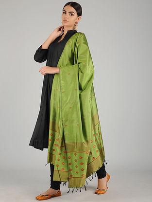 Green-Red Baluchari Pure Silk Dupatta