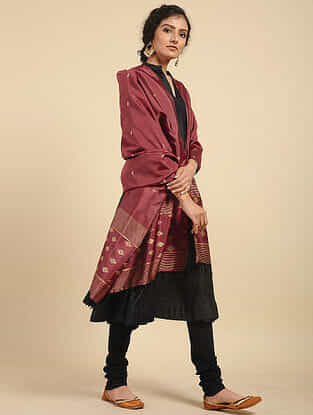 Red Handwoven Baluchari Silk Dupatta