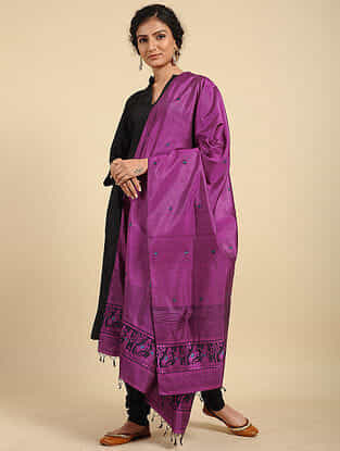 Purple Handwoven Baluchari Silk Dupatta
