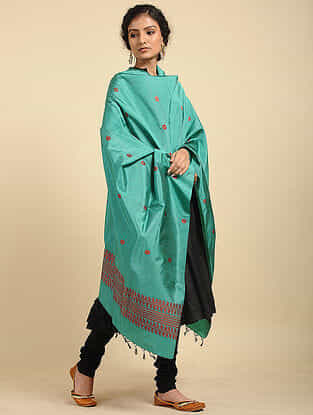 Green Handwoven Baluchari Silk Dupatta