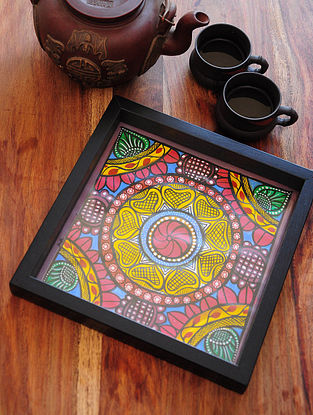 Floral Design Pattachitra Painting Wooden Tray 9.4in x 9.4in