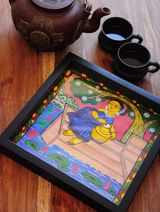 Women with Matka Design Pattachitra Painting Wooden Tray 9.4in x 9.4in