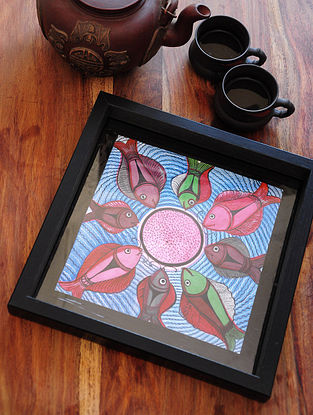 Fish Design Pattachitra Painting Wooden Tray 10in x 10in