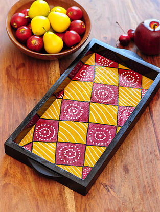 Square Design Contemporaty style Pattachitra Painting Wooden Tray 15.2in x 7.5in