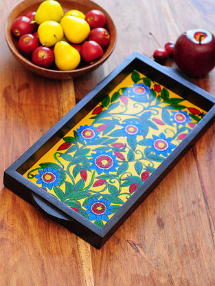 Floral Design Contemporaty style Pattachitra Painting Wooden Tray 15.1in x 7.5in