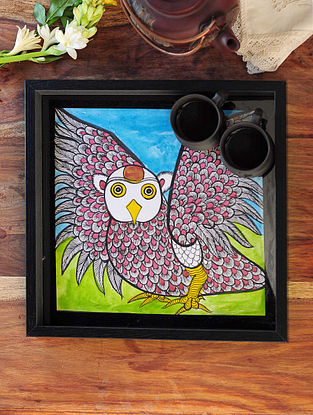 Owl Design Pattachitra Painting Wooden Tray 13.2in x 13.2in