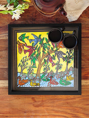 Parrot Design Pattachitra Painting Wooden Tray 13in x 12.5in