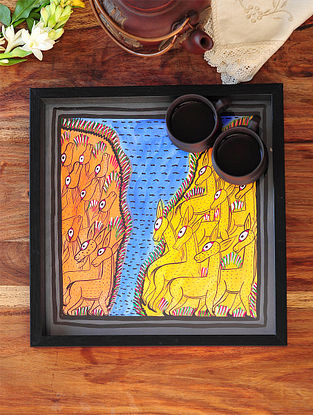 Dear Design Pattachitra Painting Wooden Tray 13in x 12.5in