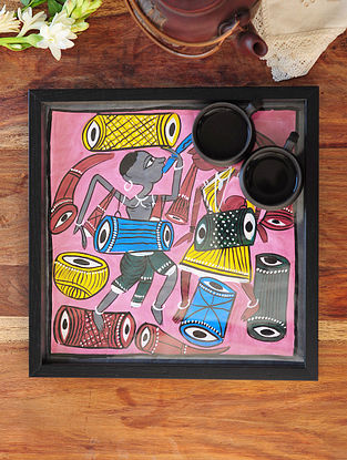 Man and Women Design Pattachitra Painting Wooden Tray 12.5in x 12.5in
