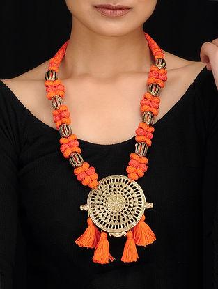 Orange Gold Tone Dhokra Necklace