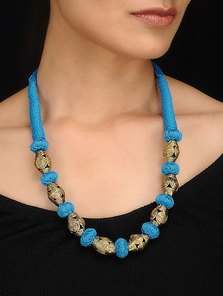 Blue Gold Tone Dhokra Necklace
