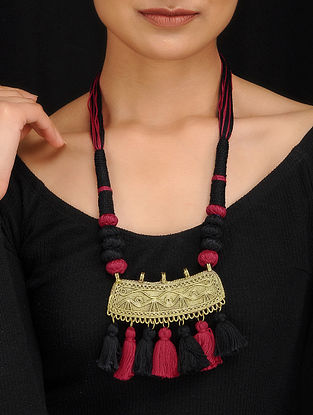 Red-Black Gold Tone Dhokra Necklace