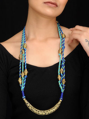 Turquoise-Blue Gold Tone Dhokra Necklace