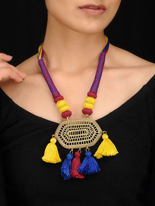Multicolored Gold Tone Dhokra Necklace