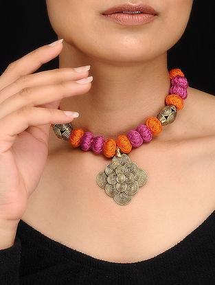 Pink-Orange Gold Tone Dhokra Necklace