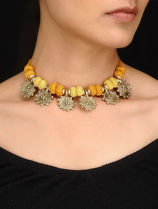 Yellow Gold Tone Dhokra Necklace
