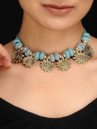 Blue Gold Tone Dhokra Necklace