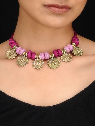 Purple Gold Tone Dhokra Necklace