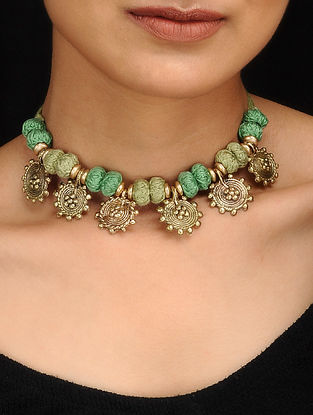Green Gold Tone Dhokra Necklace
