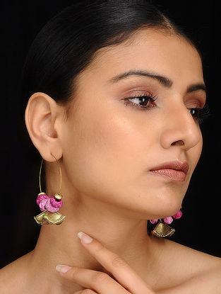 Purple Gold Tone Dhokra Earrings