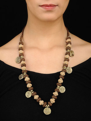 Brown Beige Gold Tone Necklace