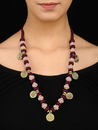 Pink Burgundy Gold Tone Necklace