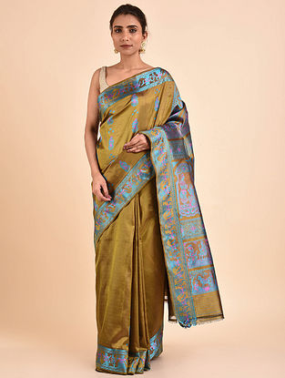 Golden Handwoven Silk Baluchari Saree