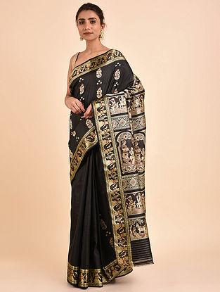 Black Handwoven Silk Baluchari Saree