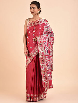 Red Handwoven Silk Baluchari Saree
