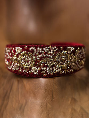 Maroon Gold Tone Embroidered Hairband