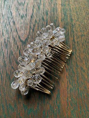 White Crystal Gold Tone Beaded Comb Clip