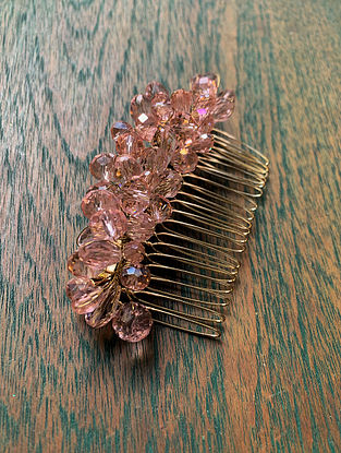 Pink Crystal Gold Tone Beaded Comb Clip