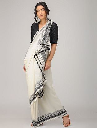Ivory-Black Cotton Saree with Tassels