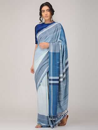 Blue-Ivory Cotton Saree with Tassels