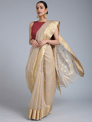 Beige Chanderi Saree with Zari