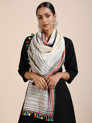 Ivory-Red Handloom Cotton Stole with Tassels