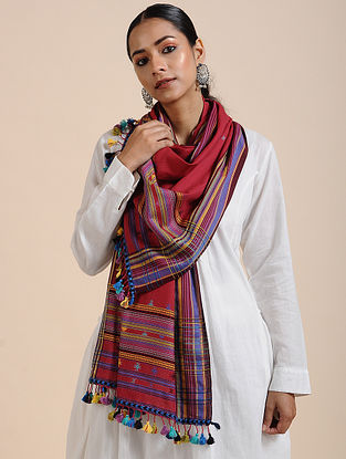 Red Handloom Cotton Stole with Tassels