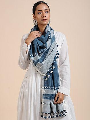 Blue Handloom Cotton Stole with Tassels