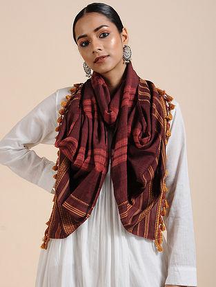 Maroon Handloom Cotton Stole with Tassels