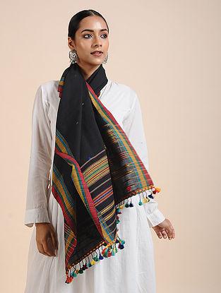 Black-Yellow Handloom Cotton Stole with Tassels