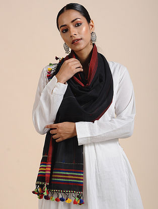 Black-Red Handloom Cotton Stole with Tassels